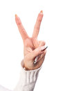 Hand victory sign Royalty Free Stock Photography
