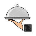 Hand waiter with tray server isolated icon