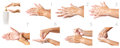 Hand washing medical procedure step by step. Royalty Free Stock Photo