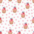 Hand watercolor cup cake pattern, Watercolor drawing,isolated on white. perfect for birthday invitations and design, fabric, etc