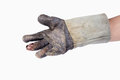 Hand wear lack of groves on white background Royalty Free Stock Images