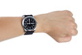 A hand wearing a black wrist watch Royalty Free Stock Photo