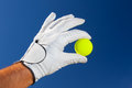Hand wearing golf glove holding a yellow golf ball Royalty Free Stock Photo