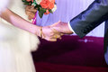 Hand wedding the bride and groom s hands tightly pull together Royalty Free Stock Photos