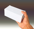 Hand and white box give gift Royalty Free Stock Photo