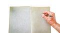 Hand white paper