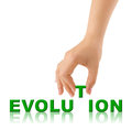 Hand and word evolution isolated on white background Stock Images