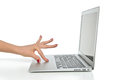 Hand working on keyboard computer laptop touchpad with grey screen a white background Royalty Free Stock Photography