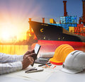 Hand of working man in shipping ,logistic freigh cargo transport Royalty Free Stock Photo