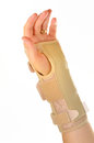 Hand with a wrist brace orthopedic Royalty Free Stock Photo