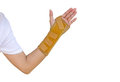 Hand with a wrist brace, orthopedic equipment, insurance concept Royalty Free Stock Photo