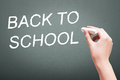 Hand writing with chalk back to school Royalty Free Stock Photo