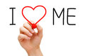 Hand writing i love me with red marker on transparent wipe board Stock Photography