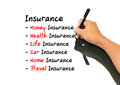 Hand writing insurance concept man Stock Image