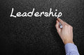 Hand writing a leadership word on blackboard Royalty Free Stock Photo
