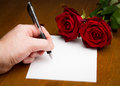 Hand Writing A Love Valentine Letter With Roses Royalty Free Stock Photo