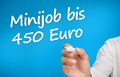 Hand writing with a marker minijob bis euro on blue background Stock Photography