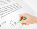 Hand writing personal signature on a paper form legal Royalty Free Stock Photography