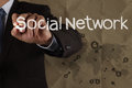 Hand writing social network structure with crumpled recycle back background as concept Stock Images
