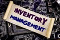 Hand writing text caption inspiration showing Inventory Management. Business concept for Stock Supply Written on sticky note, comp Royalty Free Stock Photo