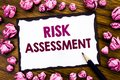 Hand writing text caption inspiration showing Risk Assessment. Business concept for Safety Danger Analyze Written on sticky note p Royalty Free Stock Photo