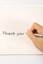 Hand writing thank you Royalty Free Stock Photo