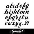 Hand written brush alphabet. Royalty Free Stock Photo