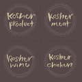 Hand written kosher products vector food labels product wine meat chicken eps and hi res jpg included Royalty Free Stock Image