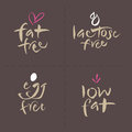 Hand written vector food label logos set egg fat unhealthy or allergenic free lactose free low eps and hi res jpg included Royalty Free Stock Photo