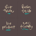 Hand written vector food labels fair farm bio ec set trade fresh product eco friendly eps and hi res jpg included Royalty Free Stock Images