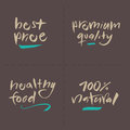 Hand written vector food labels price premium he set best quality healthy natural eps and hi res jpg included Stock Photography