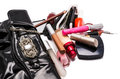 Handbag and cosmetics on a white background Royalty Free Stock Photography