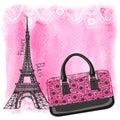 Handbag,Eiffel Tower,Paisley,Watercolor splash Royalty Free Stock Photo