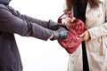 Handbag stealing the masked men is a woman s Stock Image