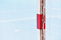 Handball goalpost detail shot with a and net Royalty Free Stock Image