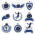 Handball labels and icons set vector Stock Images
