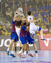 Handball match Barcelona vs Montpellier Royalty Free Stock Photos