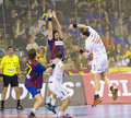 Handball match Barcelona vs Montpellier Stock Photos