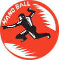 Handball Player Jump Striking Circle Woodcut Royalty Free Stock Photo