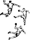 Handball player in three positions illustration Stock Image