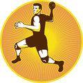 Handball Player Throwing Ball Retro Royalty Free Stock Photo