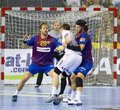 Handball players in action Stock Photos
