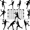 Handball silhouette vector set of nine players Royalty Free Stock Photo