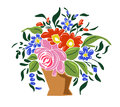 Handbasket with flowers vector illustration of Stock Image