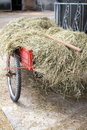 Handcart on a farm with hay breeding Stock Image
