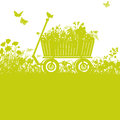 Handcart in overgrown garden Royalty Free Stock Photo