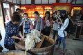 The handcraft of silkworm cocoons some tourists were visiting which in langzhong city sichuan province china Royalty Free Stock Photography