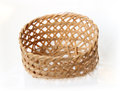 Handcraft weave texture basket in white background Stock Images
