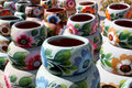 Handcrafted colorful clay pottery Royalty Free Stock Photo