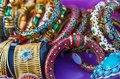 Handcrafted colorful Indian bracelets and other Indian jewelry Royalty Free Stock Photo